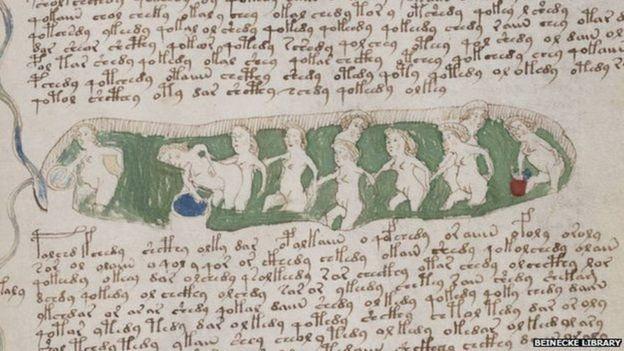Uma ilustração de mulheres se banhando do Manuscrito de Voynich