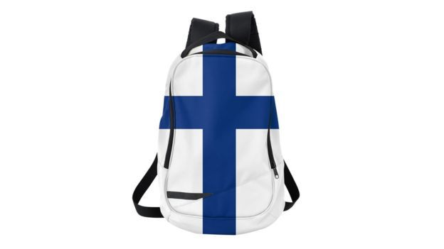 Mochila com bandeira finlandesa