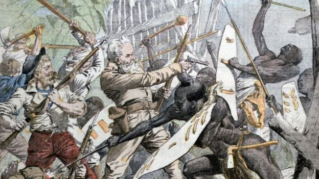 A painting showing the Maji Maji rebellion from the Universal History Archive