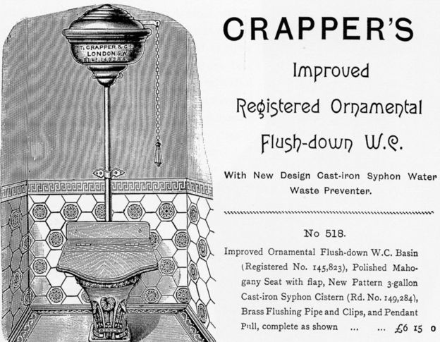An advert for Thomas Crapper's flushing toilet