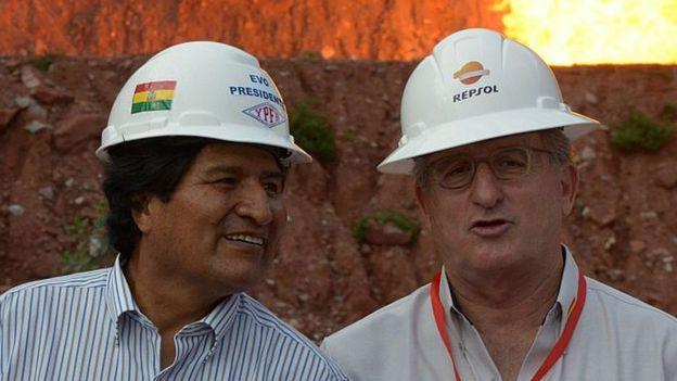 Evo con el presidente de Repsol