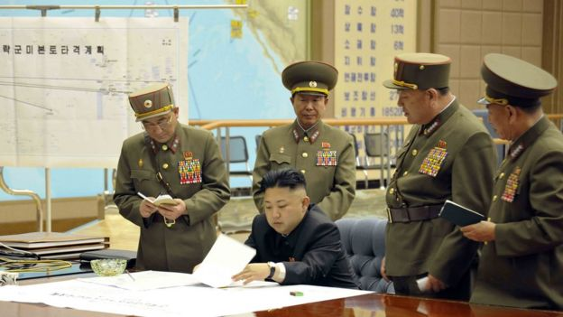 Kim Jong-un is briefed on plans to strike America in 2013