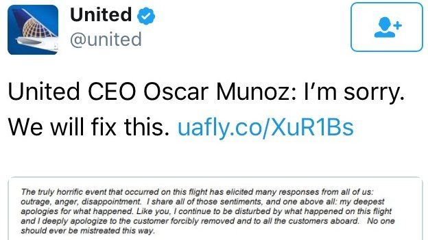 United tweets: United CEO Oscar Munoz: I'm sorry. We will fix this.