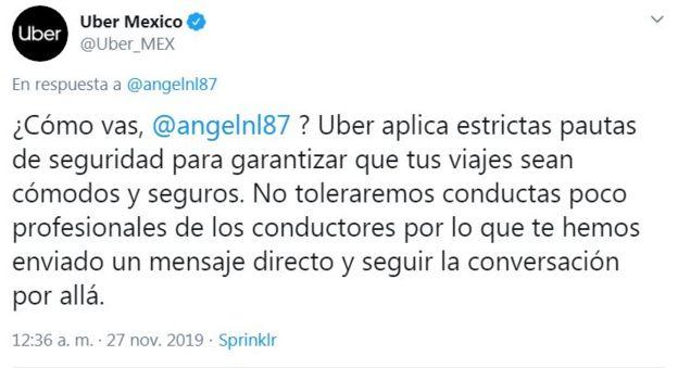 Respuesta de Uber en Twitter