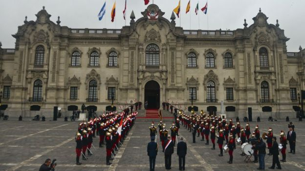 Peru's President Pedro Pablo Kuczynski arrives at the government palace