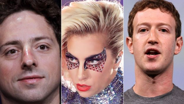 Google's Sergey Brin, Lady Gaga and Facebook's Mark Zuckerberg