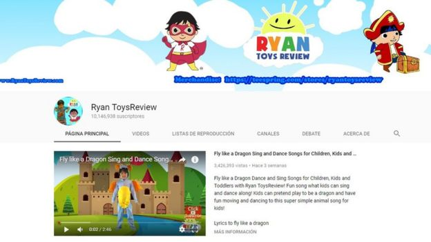 A screen grab from the Ryan ToysReview Youtube channel