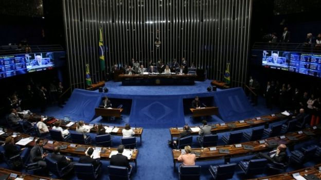 The Senate votes on whether suspended President Dilma Rousseff should stand trial for impeachment, in Brasilia, Brazil, August 9