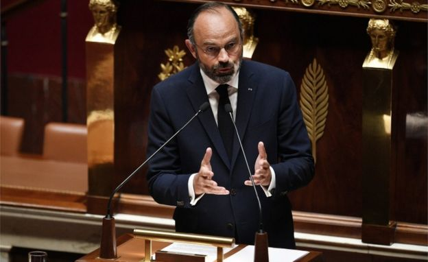 French Prime Minister Edouard Philippe presents his plan to exit from the lockdown situation at the National Assembly in Paris, France, 28 April 2020.