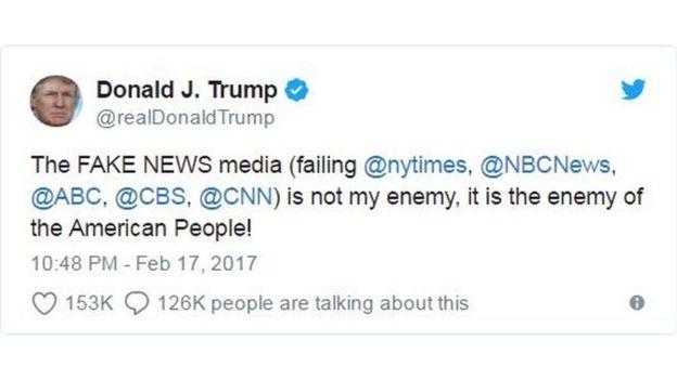 Nội dung dòng tweet chỉ trích truyền thông của ông Trump ngày 17/2/2017
