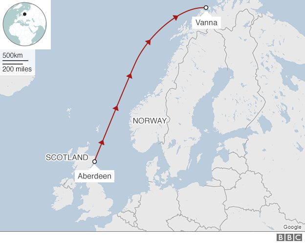 Map showing the path by sea from Aberdeen to Vanna