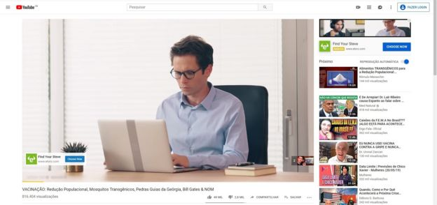 Print de propaganda em vídeo antivacina no YouTube