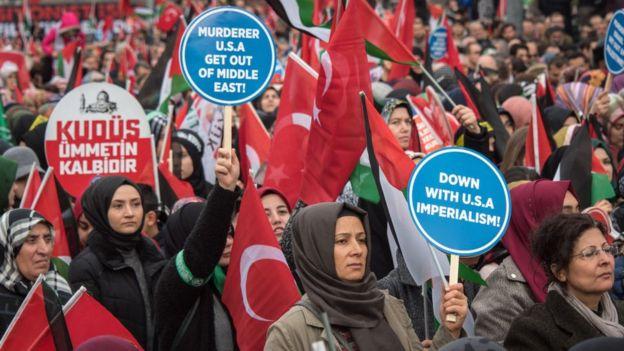 Демонстрация в Анкаре против переноса посольства США в Иерусалим