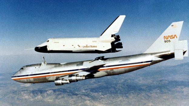 Прототип шаттла Enterprise во время испытаний запускали в планирующий полет с самолета Boeing 747 Shuttle Carrier Aircraft