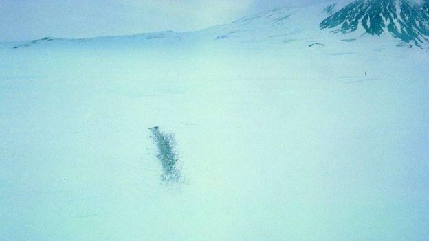 Место катастрофы рейса TE901 на склоне горы Эребус
