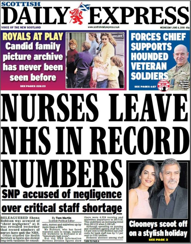 The papers: Record number of nurses quitting NHS - BBC News