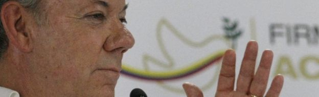 Colombian President Juan Manuel Santos in press conference