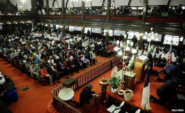 The crowded Emanuel AME Church in Charleston, South Carolina - 21 June 2015