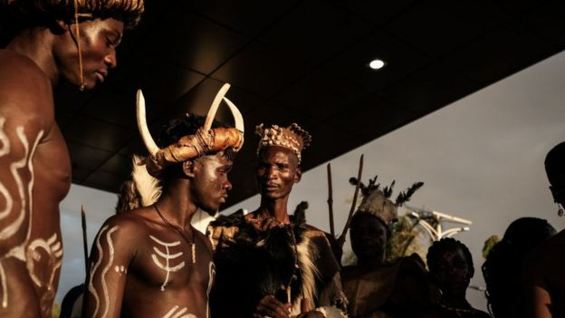 Dancers for di Africa premiere of Black Panther film for Kisumu, Western Kenya