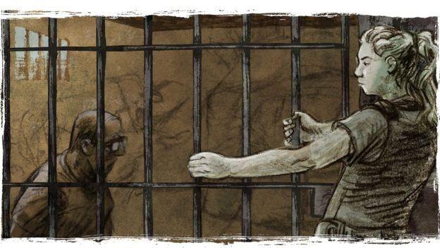Ilustración de Tábata trancando la celda donde está el fotógrafo