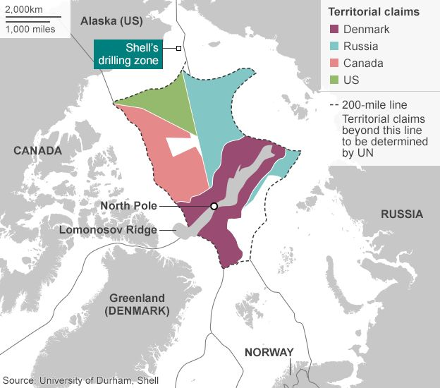 Map: Territorial claims in the Arctic