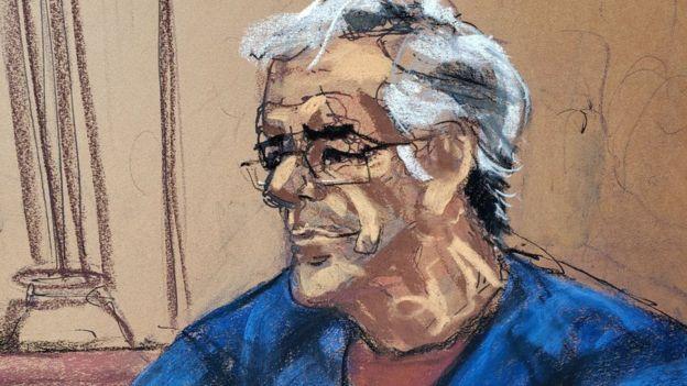 Эпштейн, рисунок из зала суда