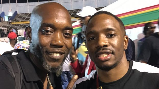 Seani B poses with Konan at the Buju Banton show in Kingston, Jamaica