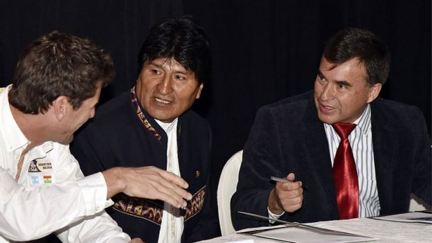 Evo Morales and Juan Ramon Quintana in 2016