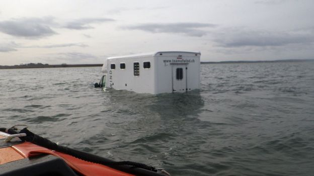 Driver stranded at high tide on Holy Island causeway - BBC News