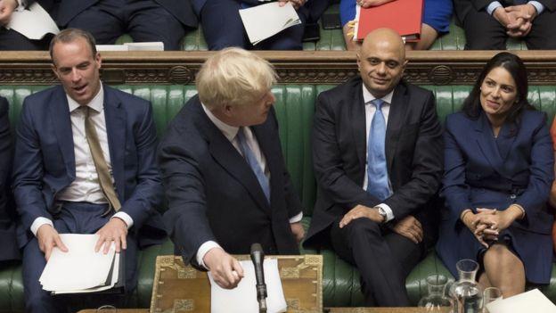 پریتی پاتل وزیر کشور، ساجد جاوید وزیر دارایی، بوریس جانسون نخستوزیر و دومینیک راب وزیر خارجه بریتانیا