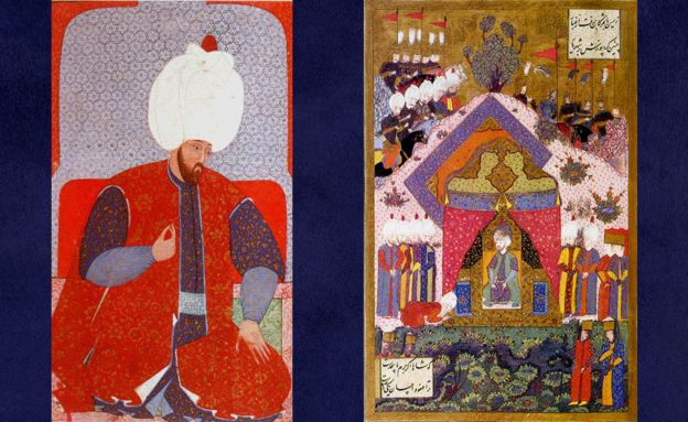 Young Suleiman (right) and the sultan receiving an ambassador (left) in a painting by Matrakçı Nasuh.