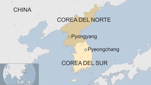 Un mapa de Pyeongchang y Pyongyang