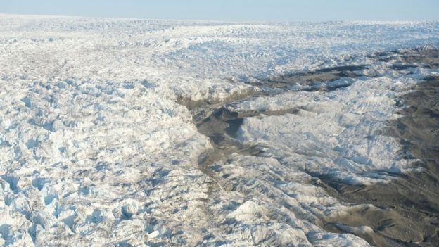 Image shows the Greenland ice sheet