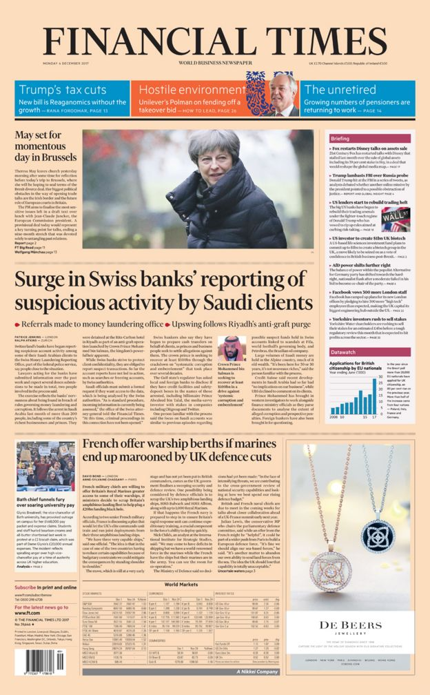 Financial Times front page - 04/12/17