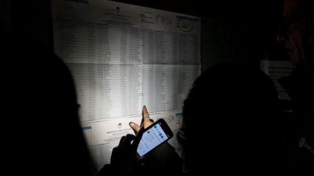 A voter looks at a electoral list during a blackout in Argentina