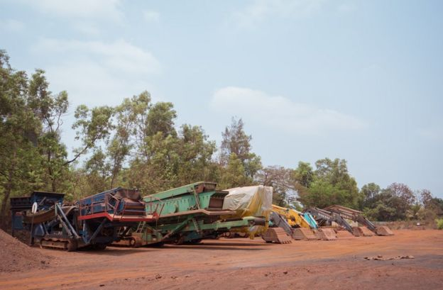 Mining machinery in Sonshi is now parked next to a primary school.