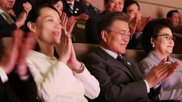 South Korean President Moon Jae-in (C) watches a performance of North Korea's Samjiyon Orchestra with North Korea's nominal head of state Kim Yong-Nam (L) and Kim Yo-Jong (2nd L) North Korean leader Kim Jong Un's sister at National Theater on February 11, 2018 in Seoul, South Korea.