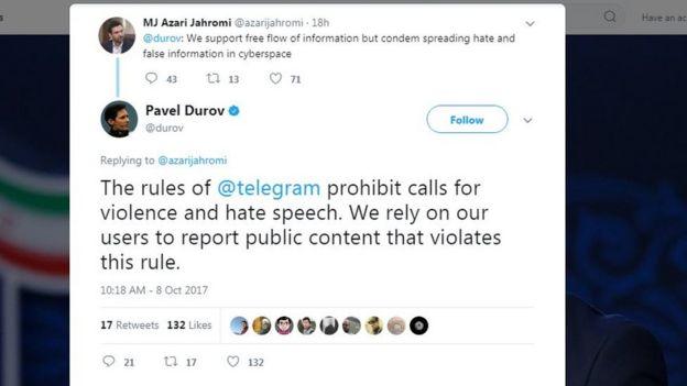 مدیر تلگرام: قوانین تلگرام فراخوان خشونت و سخنان نفرتپراکنانه را ممنوع کرده است. ما برای این کار به گزارش کاربرانمان متکی هستیم