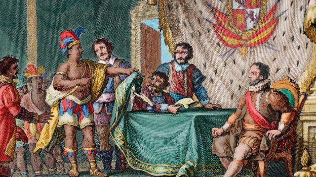 Rendición del rey Sayri Tupac ante el virrey de Perú Hurtado de Mendoza.