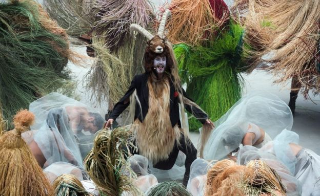 Man dressed as a goat during the opening show directed by German director Volker Hesse, on the opening day of the Gotthard rail tunnel, the longest tunnel in the world - 1 June 2016