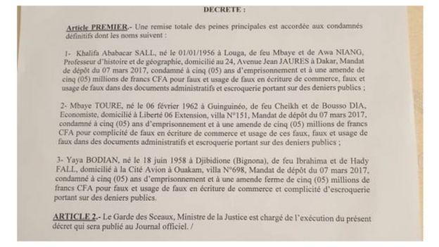 La grâce accordée à Khalifa Sall, Mbaye Touté et Yaya Bodian a été signée par Macky Sall.