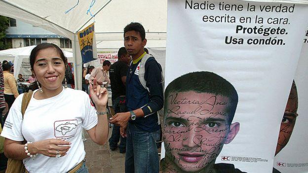 Campaña contra el VIH/Sida en Tegucigalpa, Honduras.