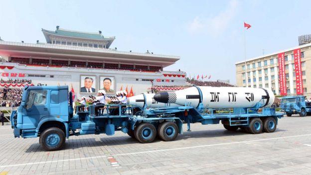 جانب من الاستعراض العسكري الأخير في بيونغ يانغ