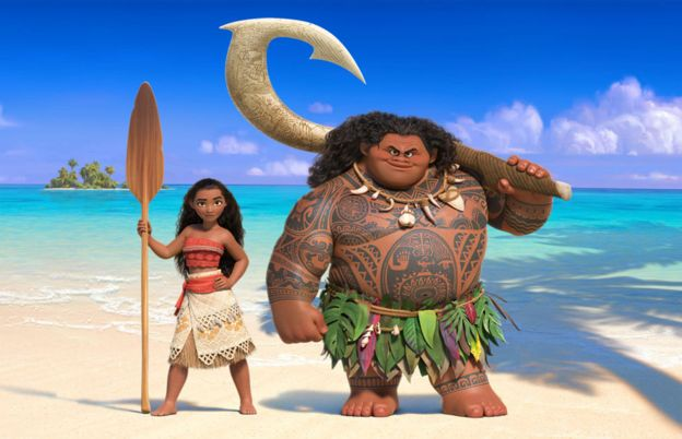 Disney characters Moana and Maui