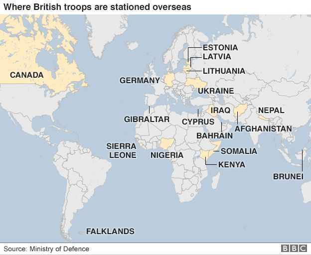 Where are british troops deployed overseas bbc news a map showing some of the main countries where british troops are stationed overseas gumiabroncs Gallery