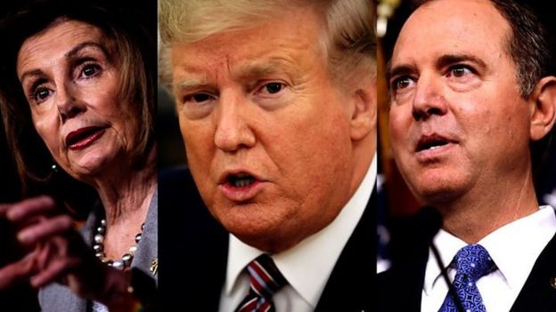Donald Trump, Nancy Pelosi iyo Adam Schiff's