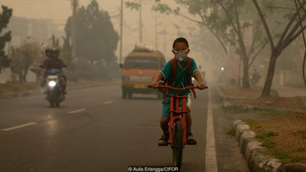Menino andando de bicicleta em meio à poluição