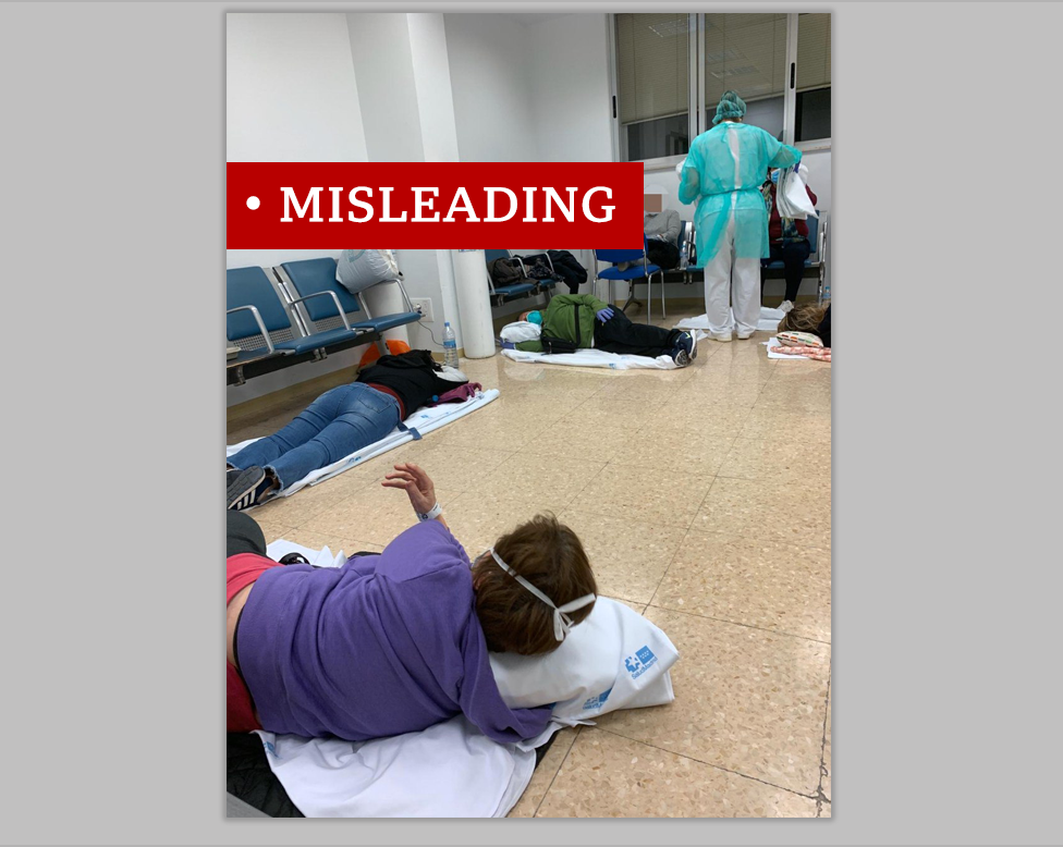 Photo of patients on Spanish hospital floor