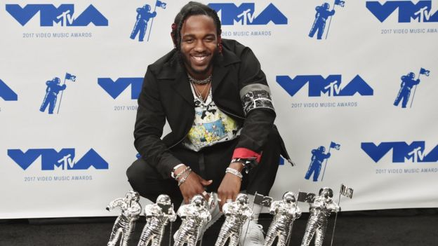 Kendrick Lamar with his haul