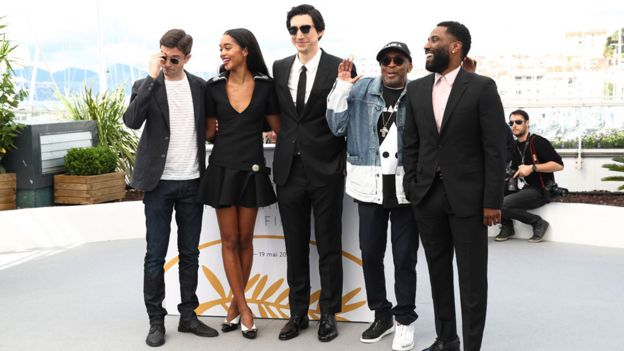 Spike Lee, second right, and the cast of BlacKkKlansman